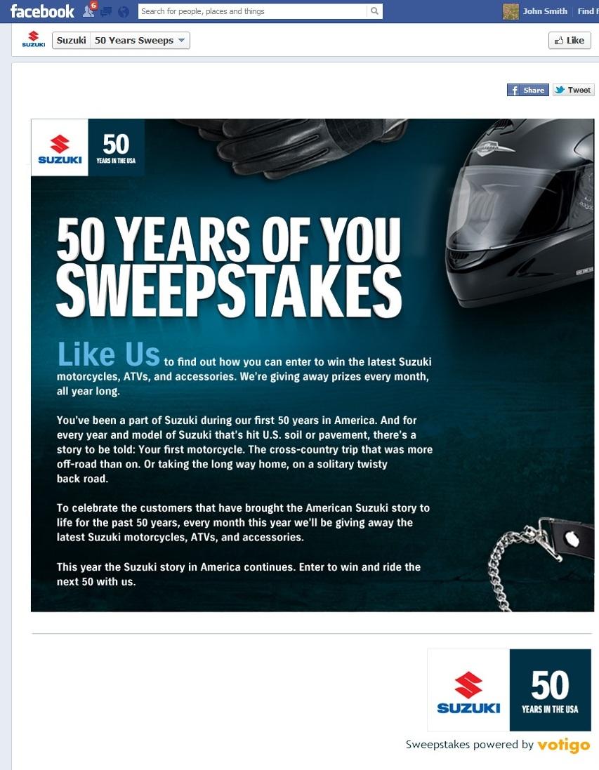 Suzuki sweepstakes promo code